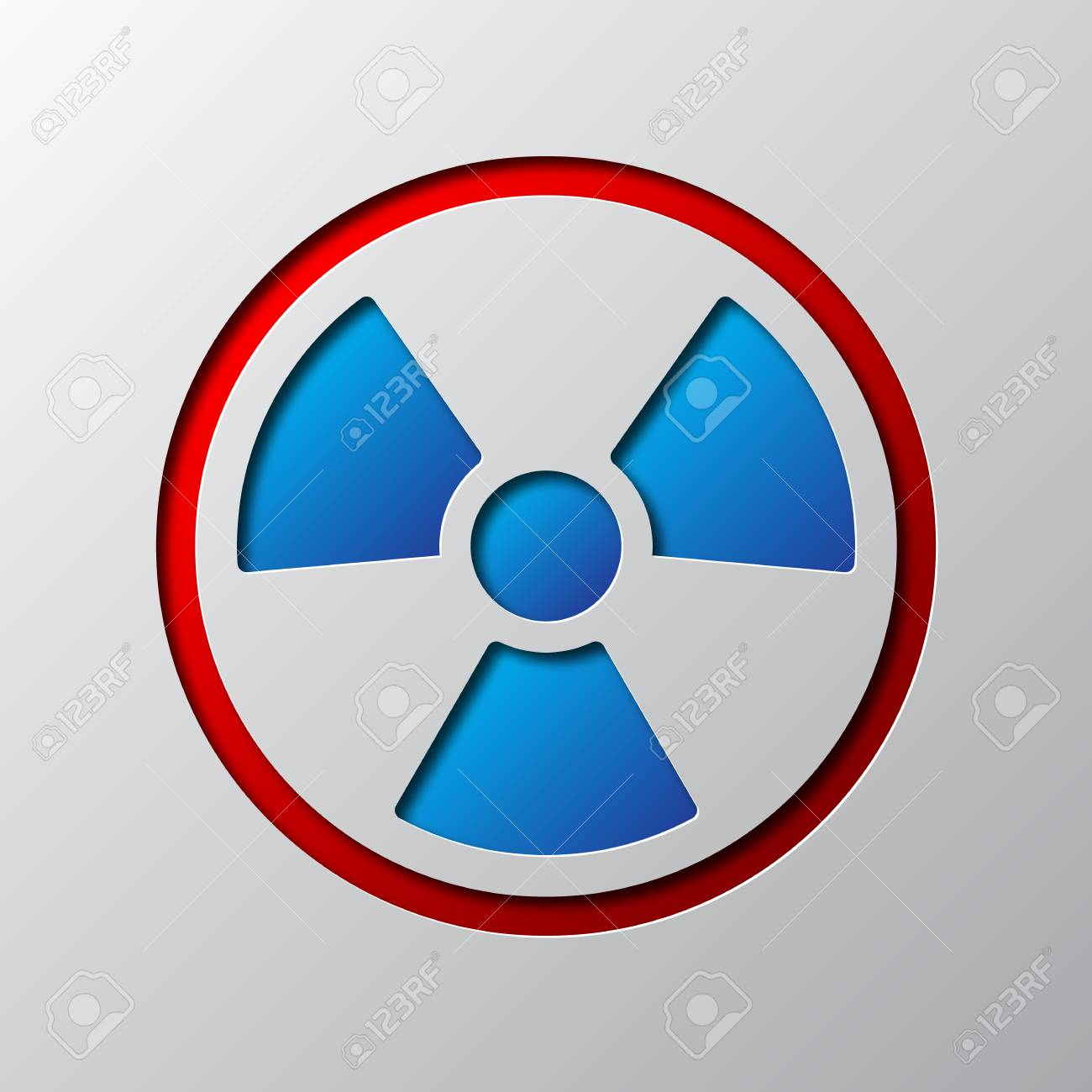 Paper Art Of Radiation Symbol Isolated Vector Illustration