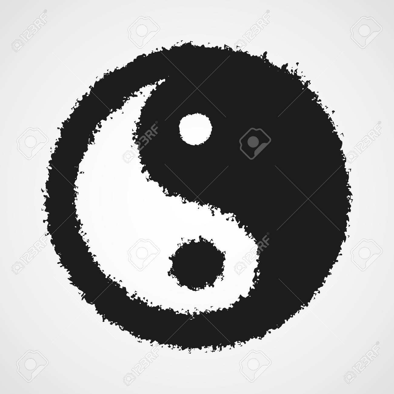 Black Drawing Of The Yin Yang Symbol In Doodle Style Vector