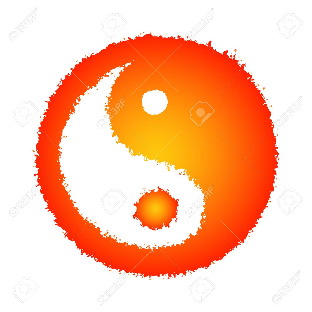 Color Drawing Of The Yin Yang Symbol In Doodle Style Vector