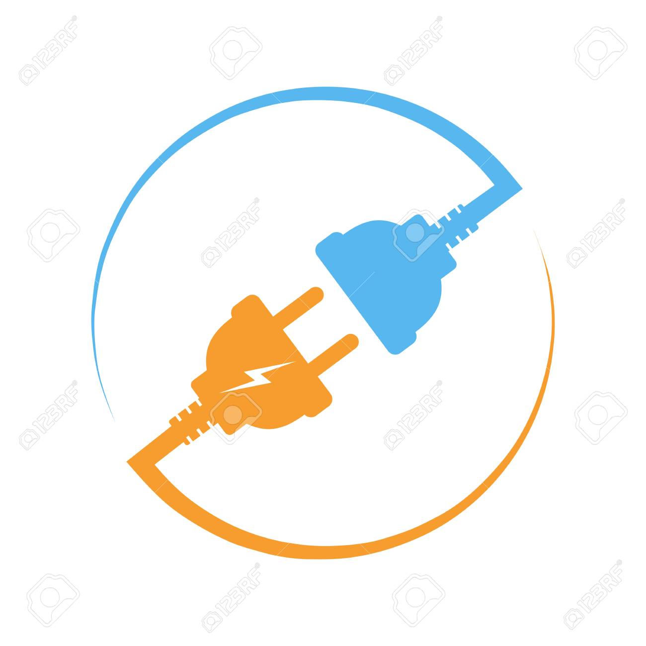 Wire, plug and socket  Vector illustration  Plug and socket in