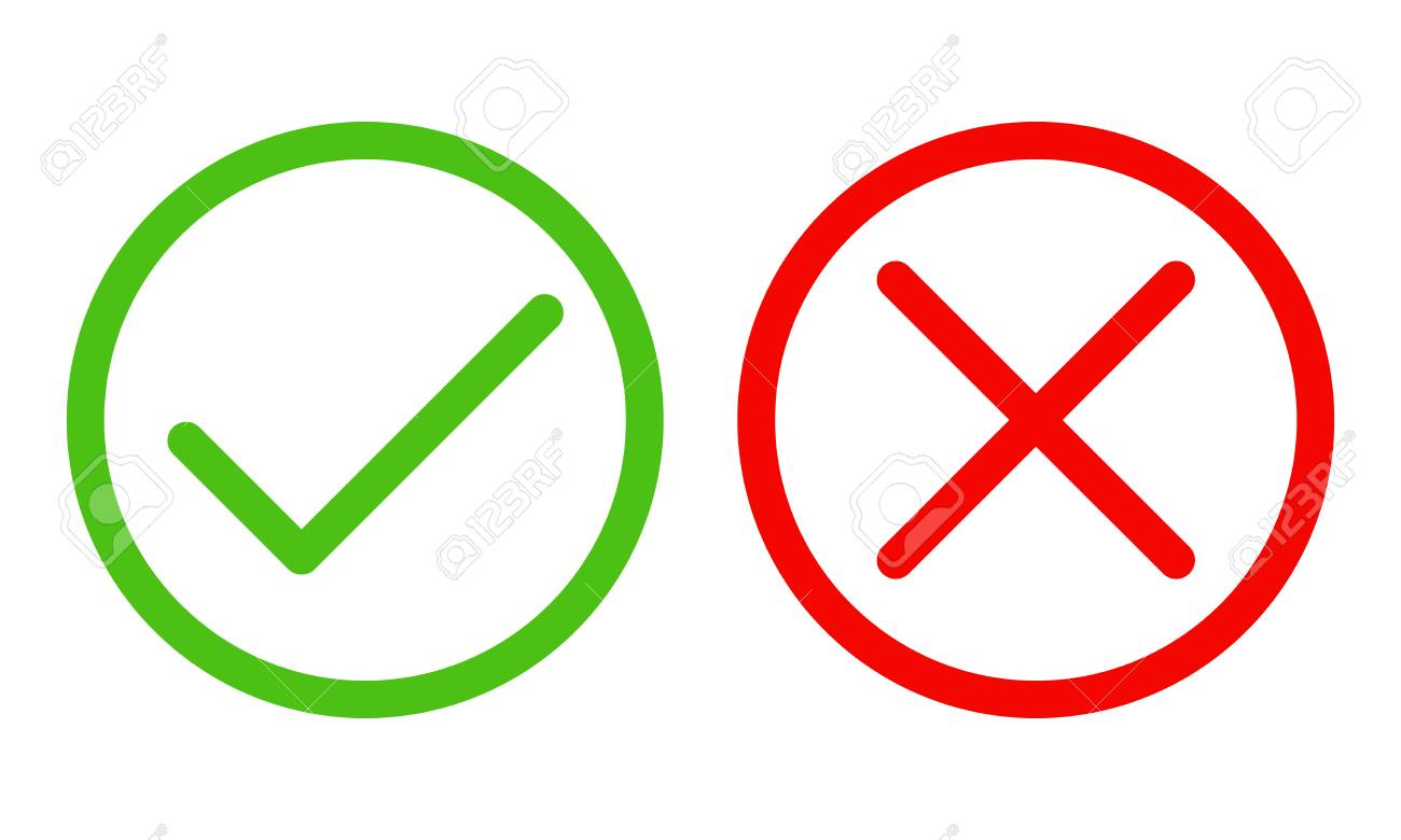 Yes and No check marks. Vector illustration. Red and green check marks on white background. - 109892023