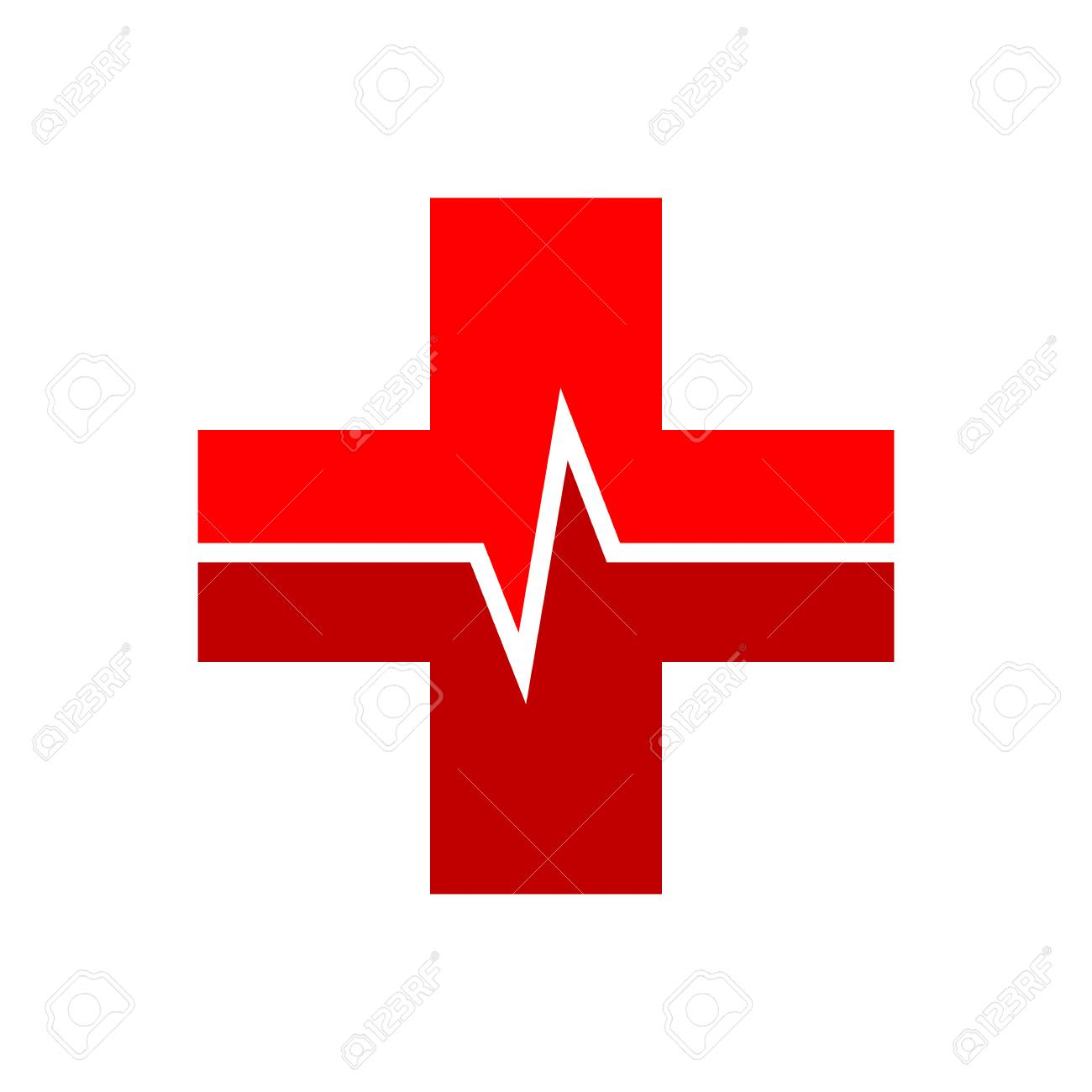 medical cross with heartbeat icon in flat style. vector illustration...  royalty free cliparts, vectors, and stock illustration. image 110570828.  123rf