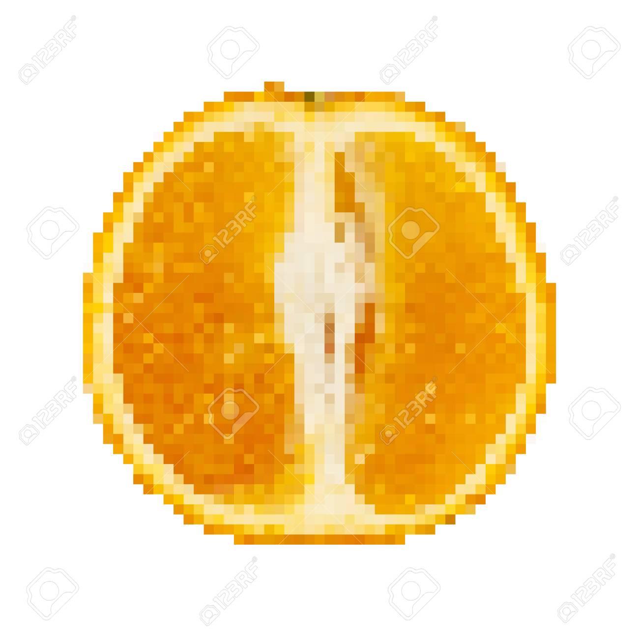 Bright An Orange In Pixel Art Design Vector Illustration Abstract