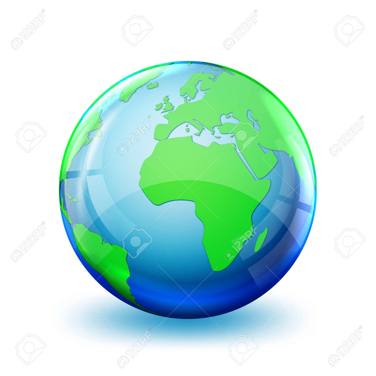 Earth globe icon isolated. 3D globe. Glossy world map. Vector illustration. - 155511962