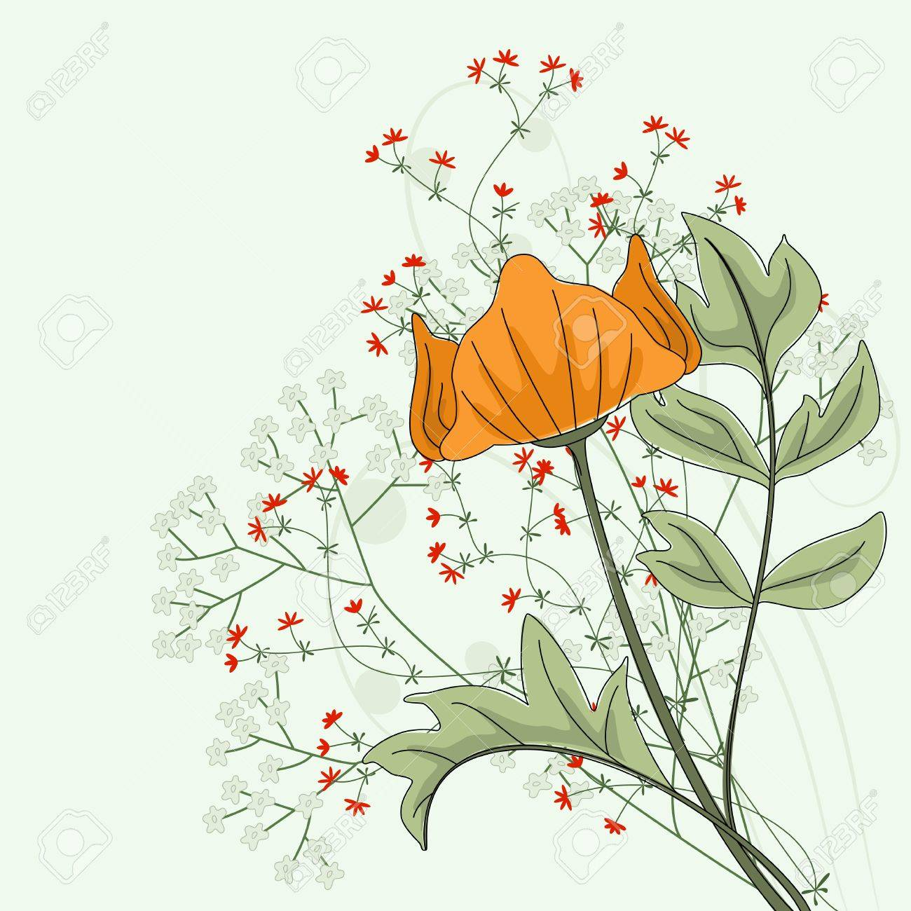 Hand drawn poppy with fantasy flowers and plants. Stock Vector - 9327396