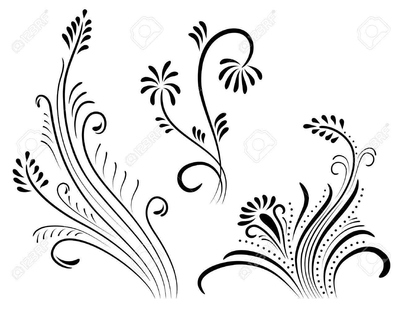 set of vintage color floral designs. Stock Vector - 9812003