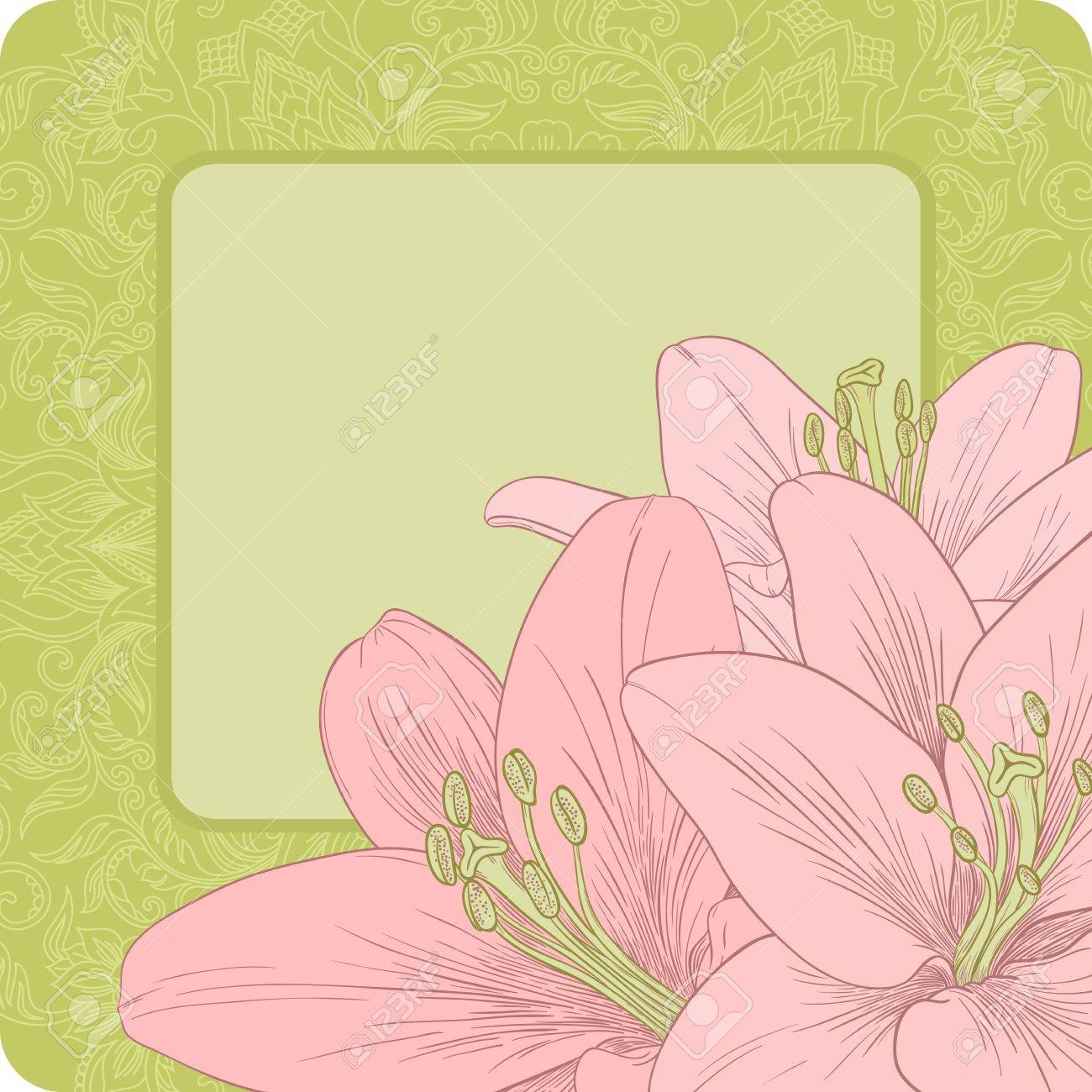 Vector illustration for greeting card with lilies. Stock Vector - 14416556
