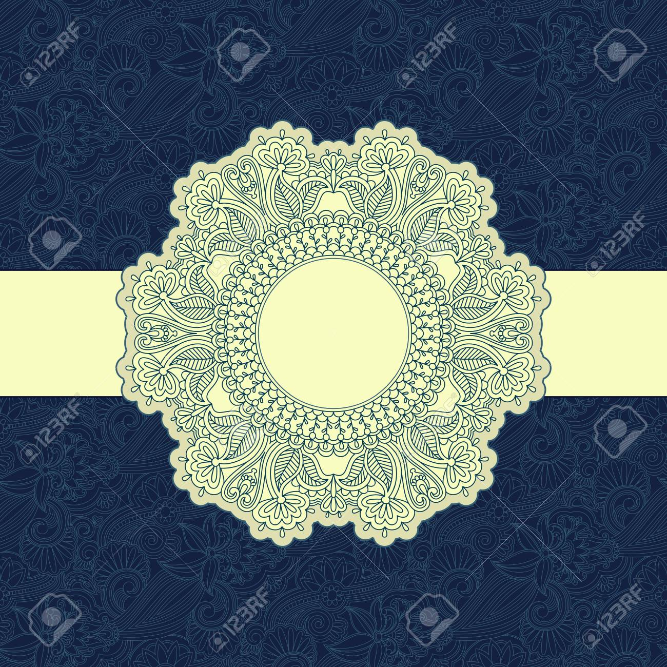 illustration with vintage pattern for greeting card. Stock Vector - 16721643