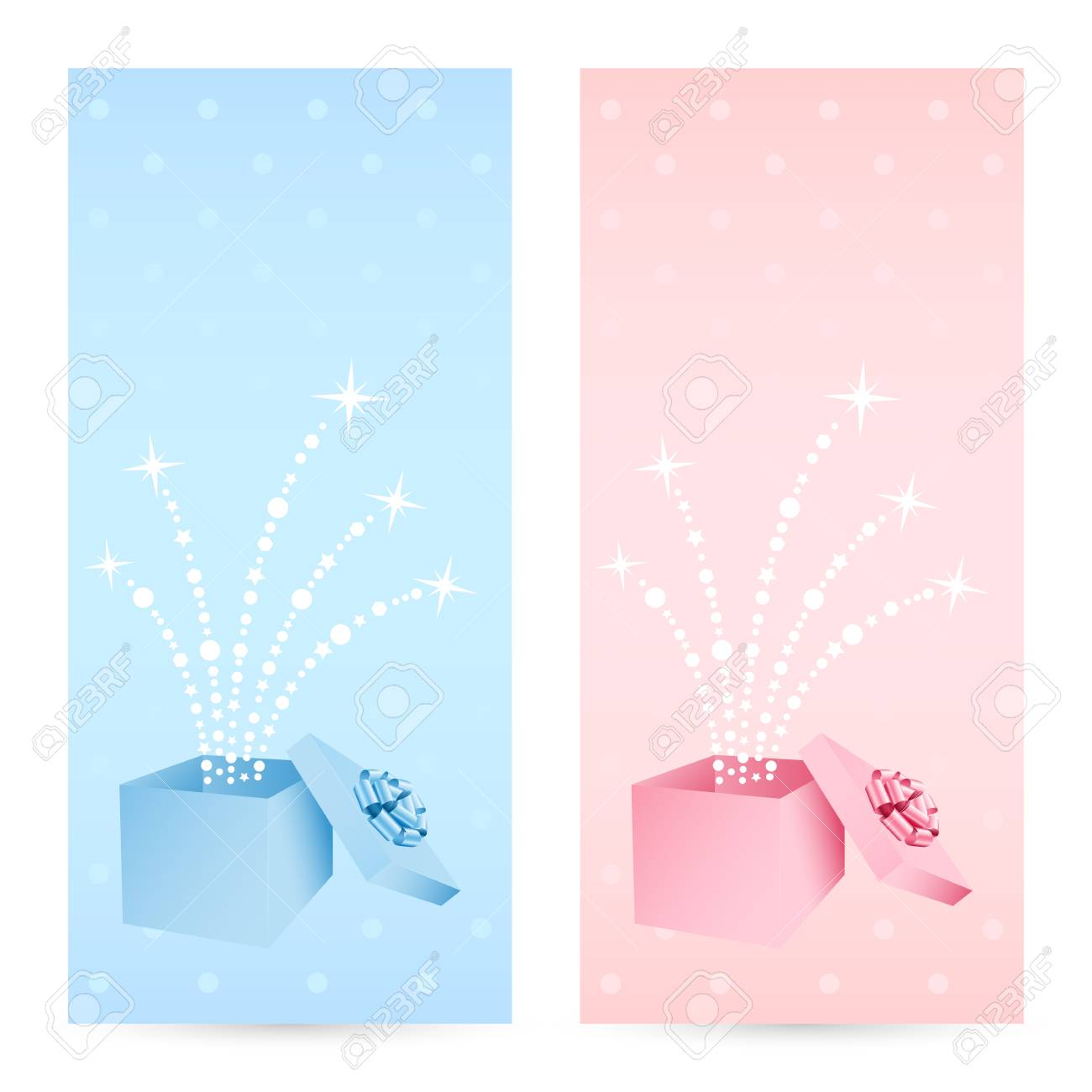 Birthday Greeting Cards With Gift Box Royalty Free Cliparts
