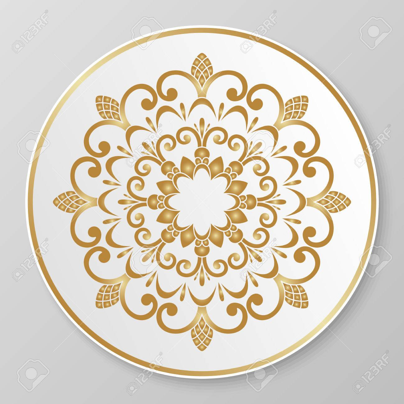 Vector - Vector gold floral ornament for decorative plate.  sc 1 st  123RF Stock Photo & Vector Gold Floral Ornament For Decorative Plate. Royalty Free ...
