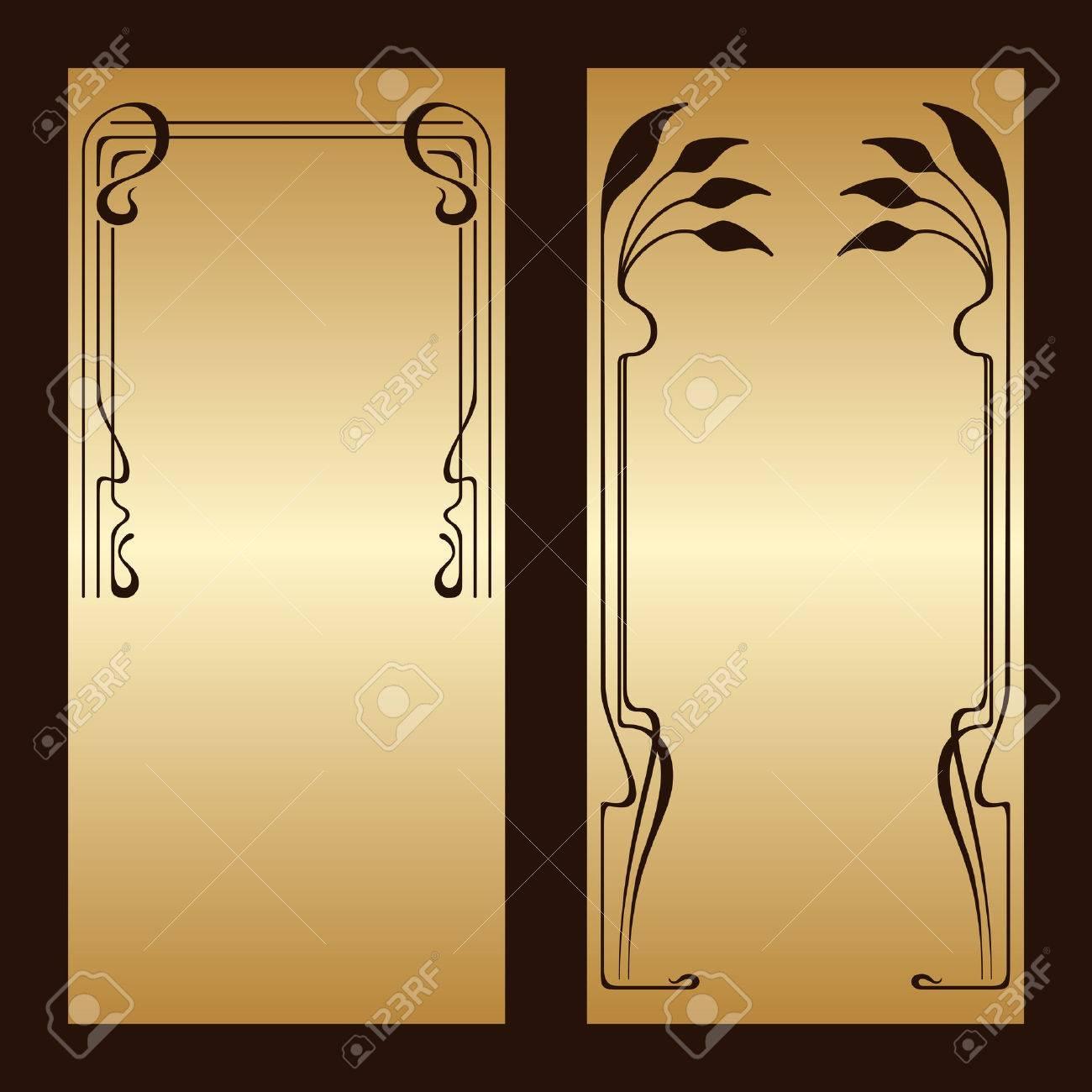 Vector art nouveau gold invitation cards with space for text banco de imagens vector art nouveau gold invitation cards with space for text stopboris Images