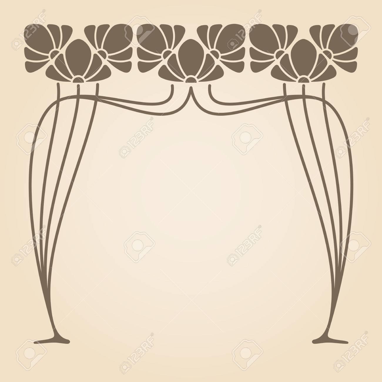 Vector Jugendstil Ornament Mit Platz Für Text Lizenzfrei Nutzbare