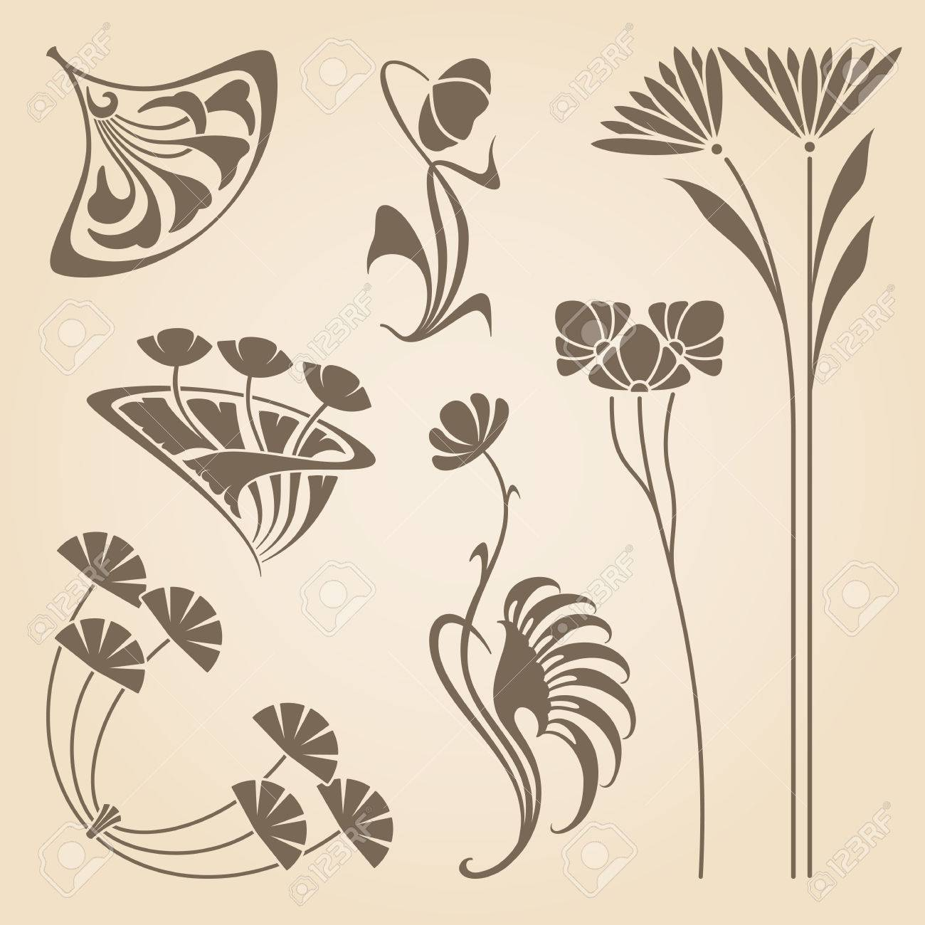 Art Deco Design Elements vector set of vintage art nouveau design elements. royalty free