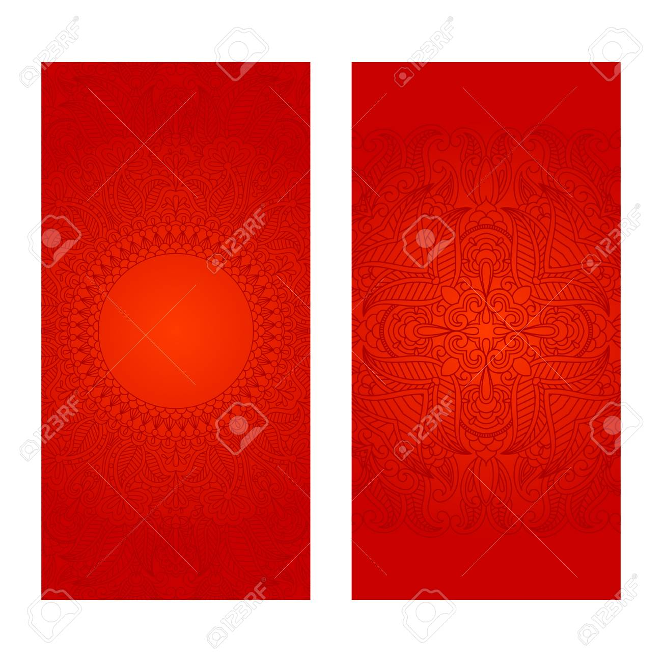 Vector Set Of Red Floral Decorative Background, Template Frame ...
