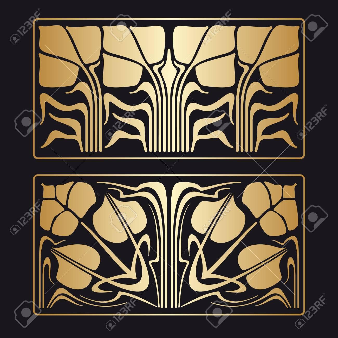Deko Ornament.Vector Art Deco Floral Golden Ornament On Black