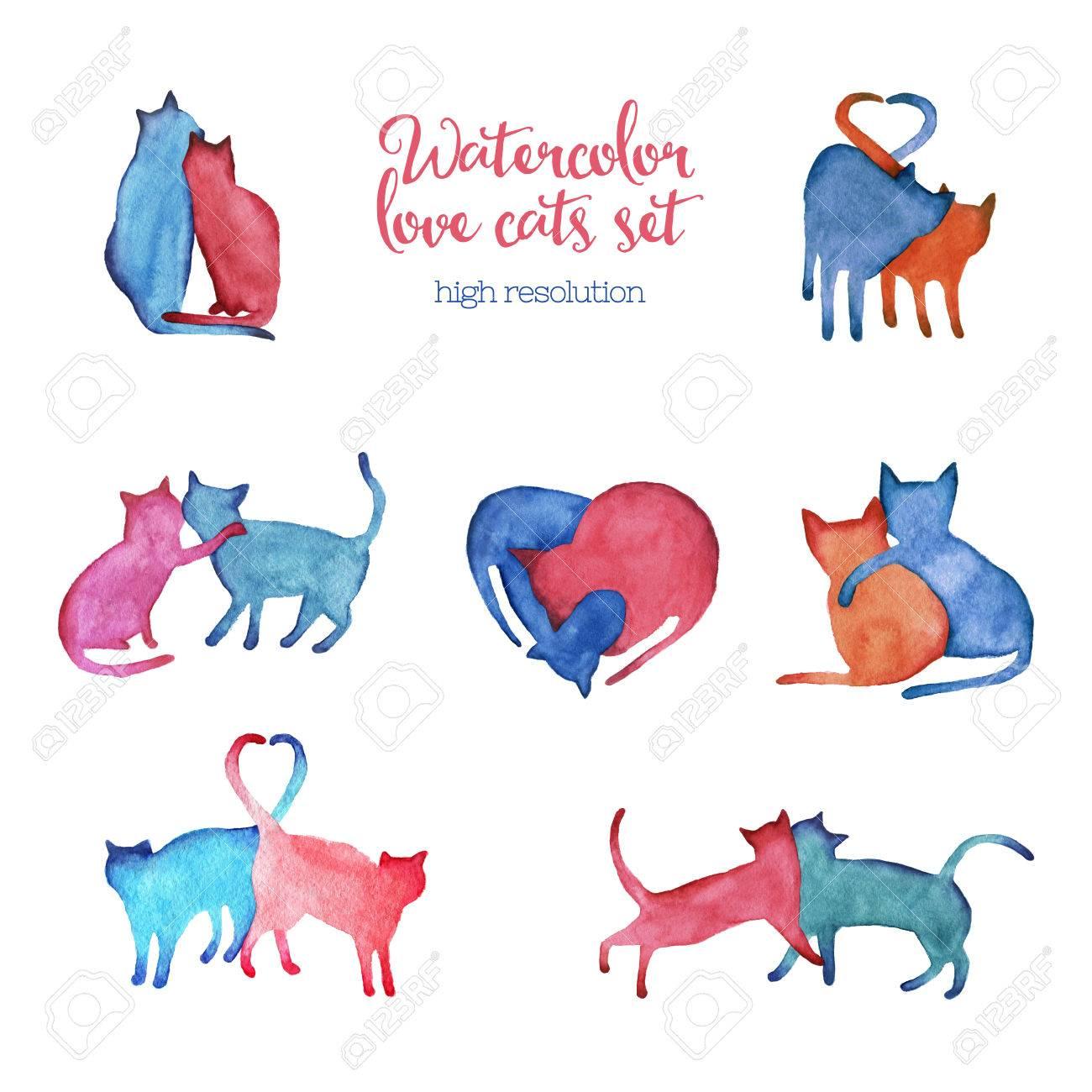 高解像度で水彩猫カップル イラスト。 ロイヤリティーフリーフォト