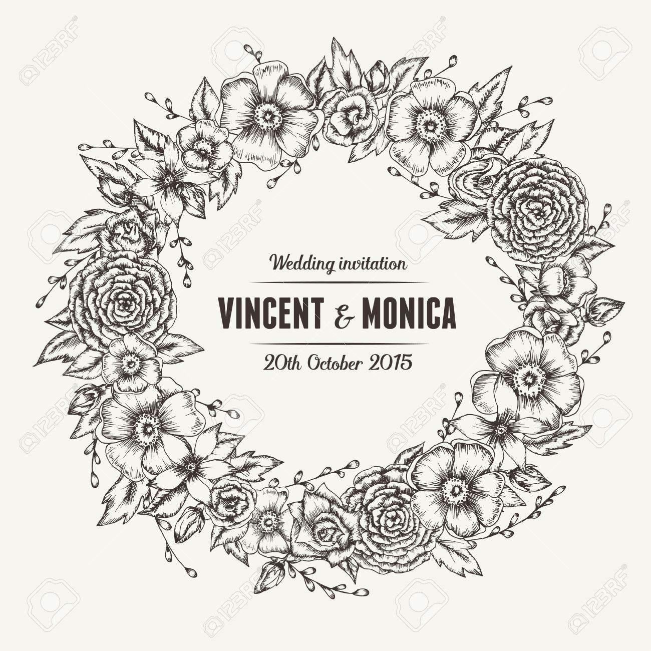 Vector vintage floral wedding invitation hand drawn flower wreath vector vector vintage floral wedding invitation hand drawn flower wreath stopboris Choice Image