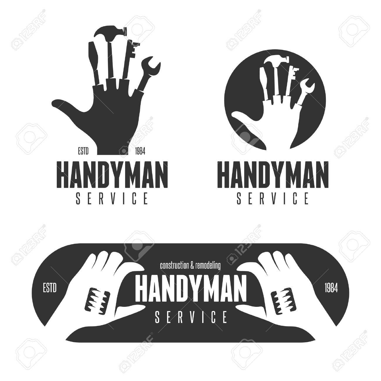Handyman Design Element In Vintage Style For Logo Royalty Free ...
