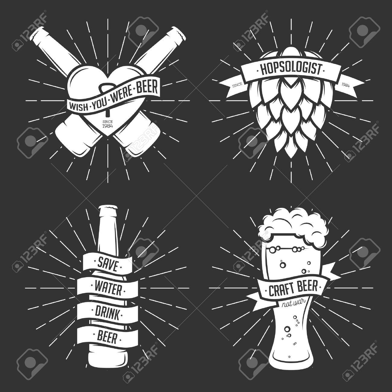 Shirt design elements - Set Of T Shirt Beer Prints Beer Labels Badges Design Elements