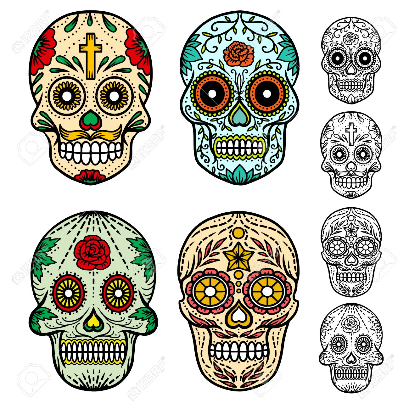 day of the dead skulls hand drawn vector illustration royalty free rh 123rf com day of the dead skull vector day of the dead vector download