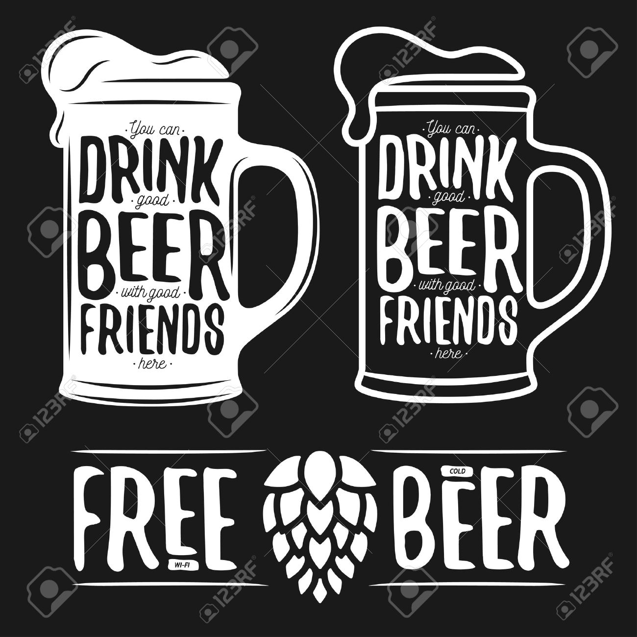 Set Of Beer Typography Vintage Prints Quotes About Free Wi Fi