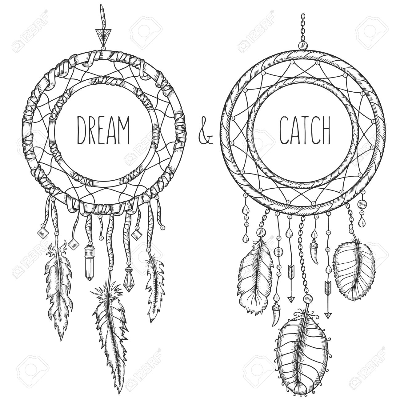Poster design drawing - Dream Catchers Native American Traditional Symbol T Shirt Bag Poster Design