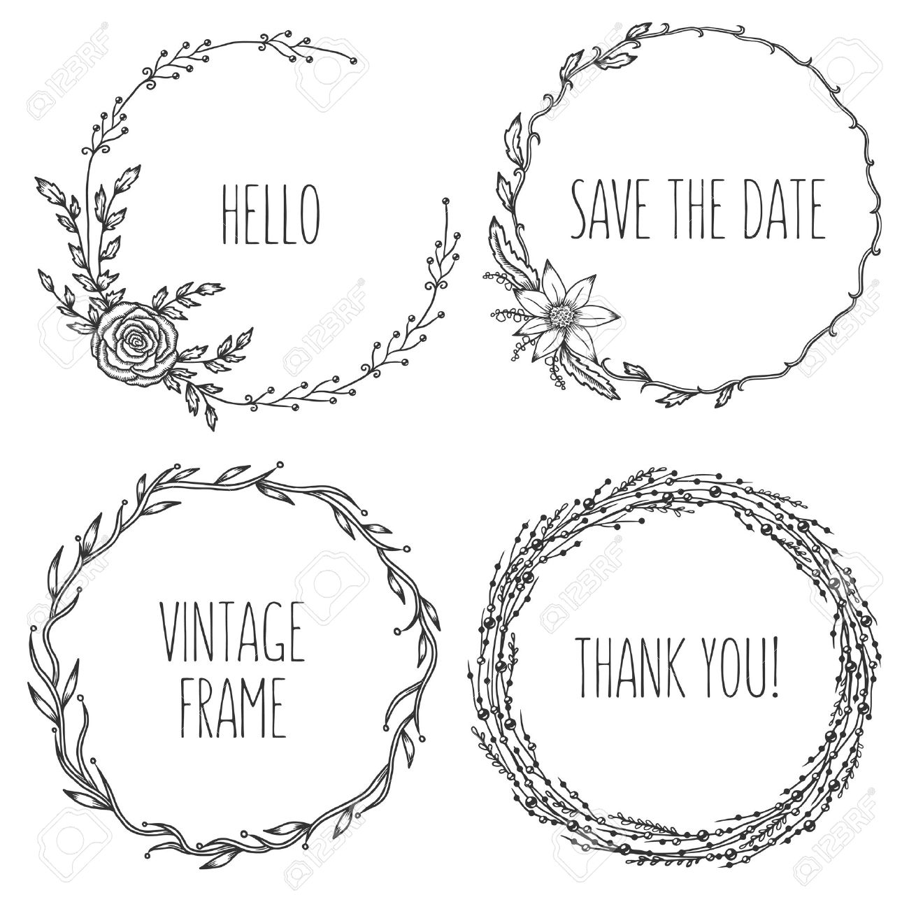 Collection Of Trendy Cute Floral Frames Graphic Design Elements For Wedding