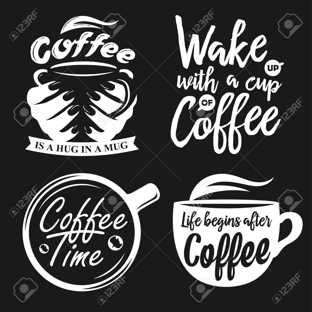 Hand Drawn Typography Coffee Posters Set Greeting Cards Or Print Invitations With Ware And