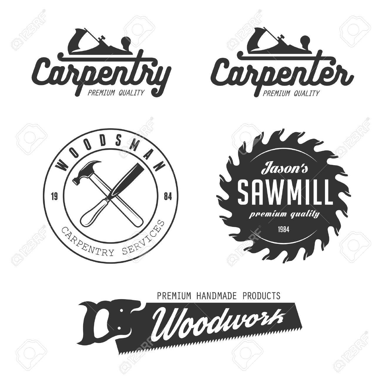 Carpenter Design Elements In Vintage Style For Logo Label Badge