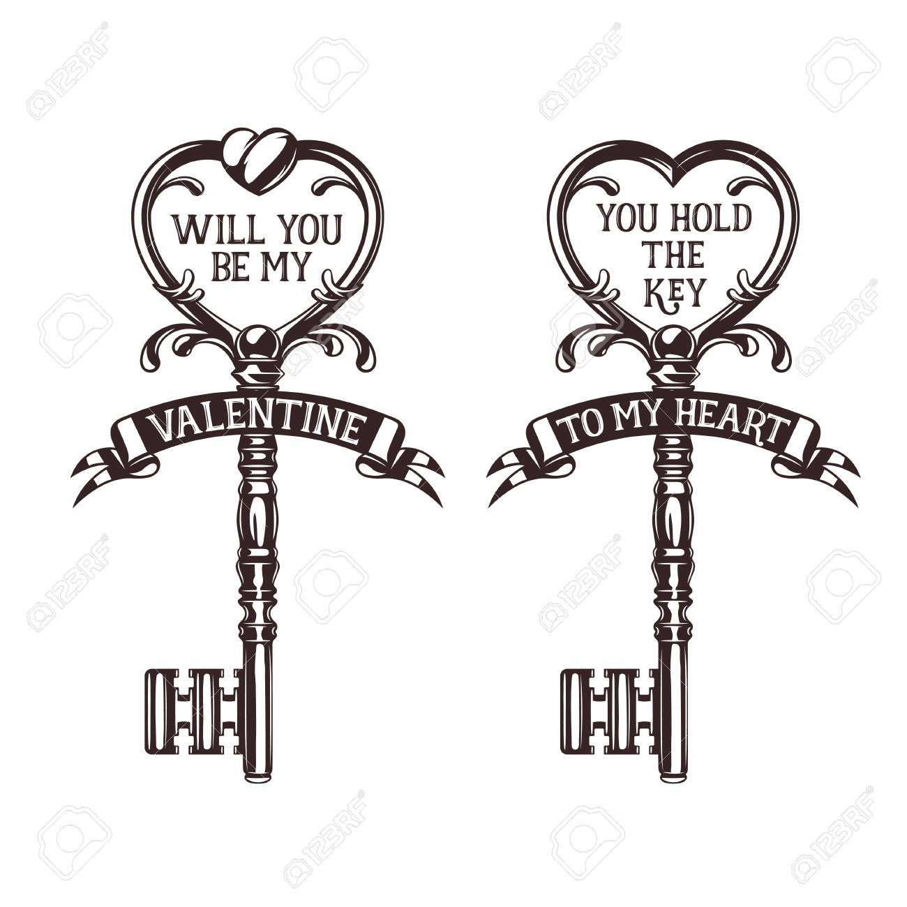 Set Of Heart Shaped Keys With Quotes Related To Valentines Day