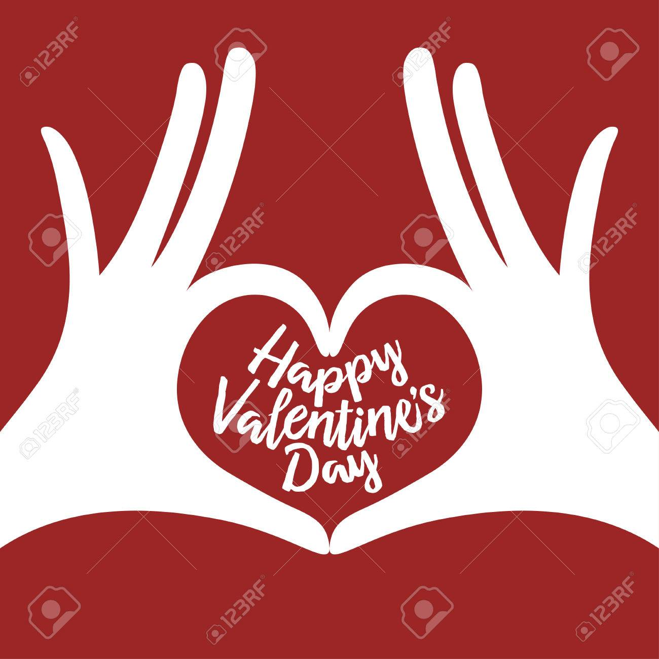 Valentine Day Lettering Background With Hands In Heart Gesture