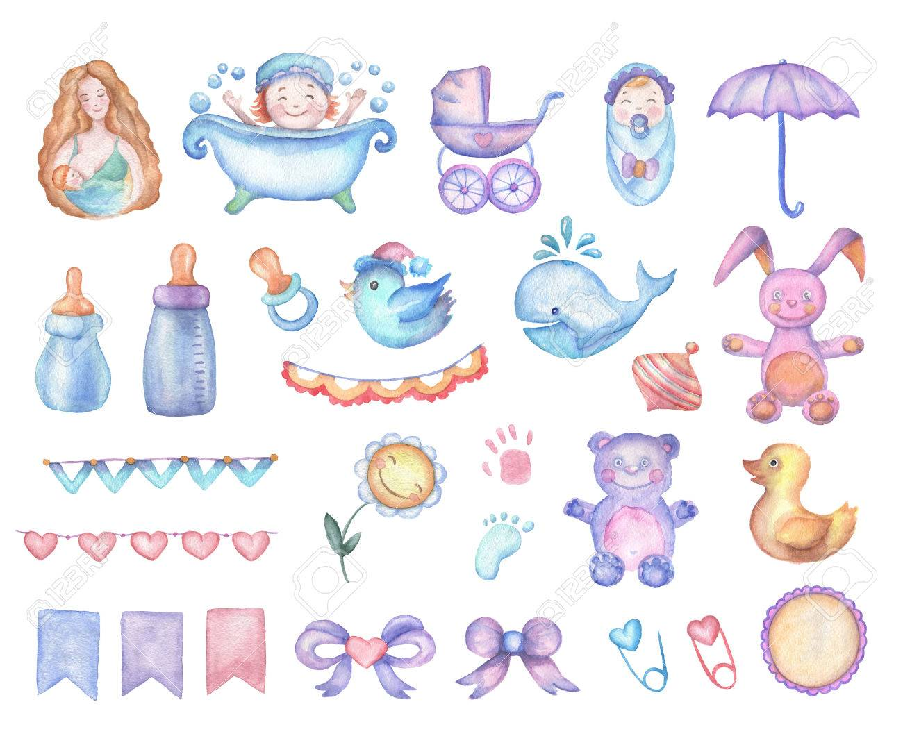 Watercolor baby shower set of design elements in high resolution. - 50154422