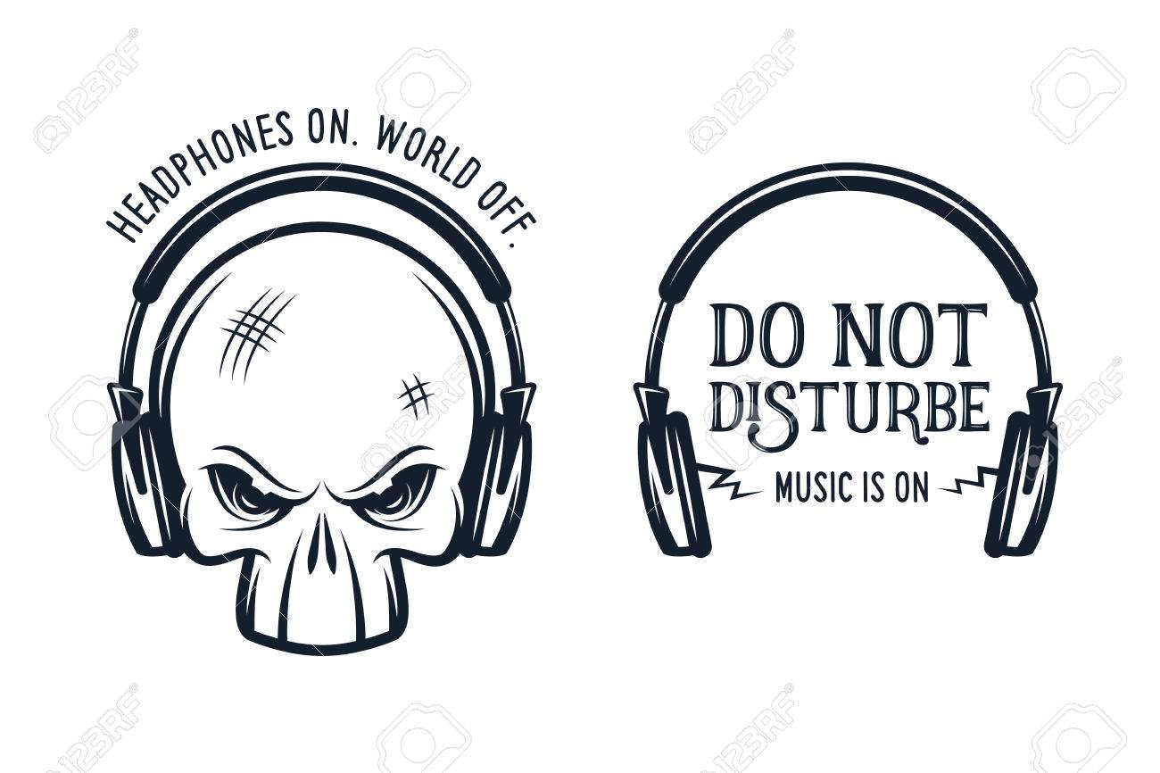 Skull In Headphones T Shirt Print With Quotes Headphones On