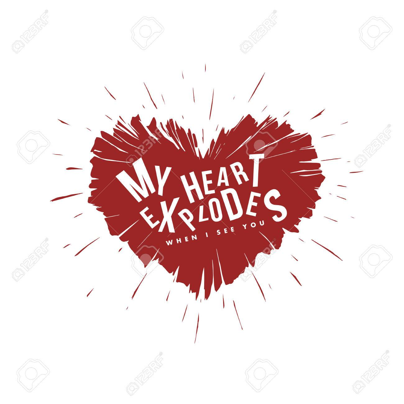 Valentine Day Lettering Background Heart Explosion Illustration