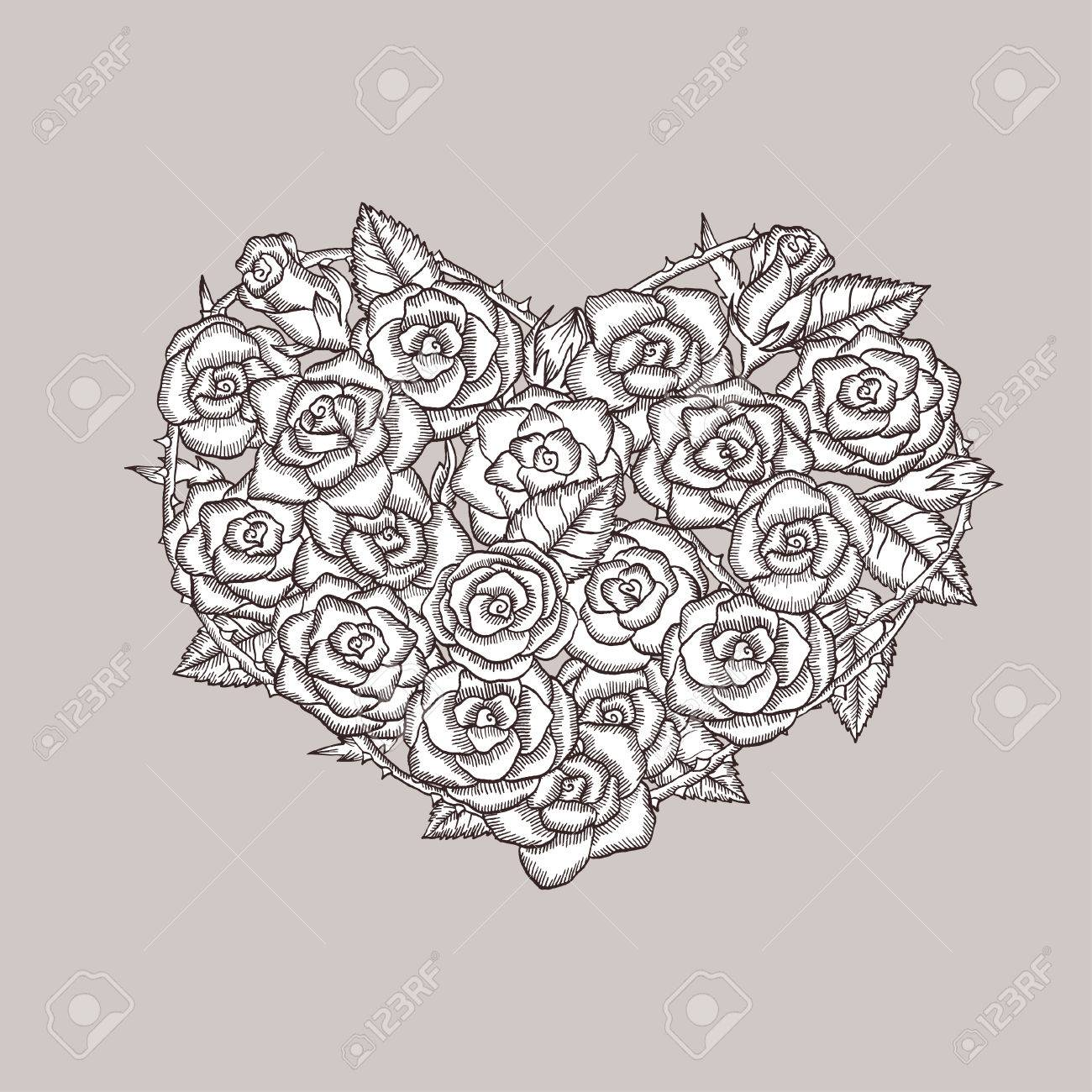 Valentine Day Heart Made Of Roses Ink Drawing Hand Drawn Design