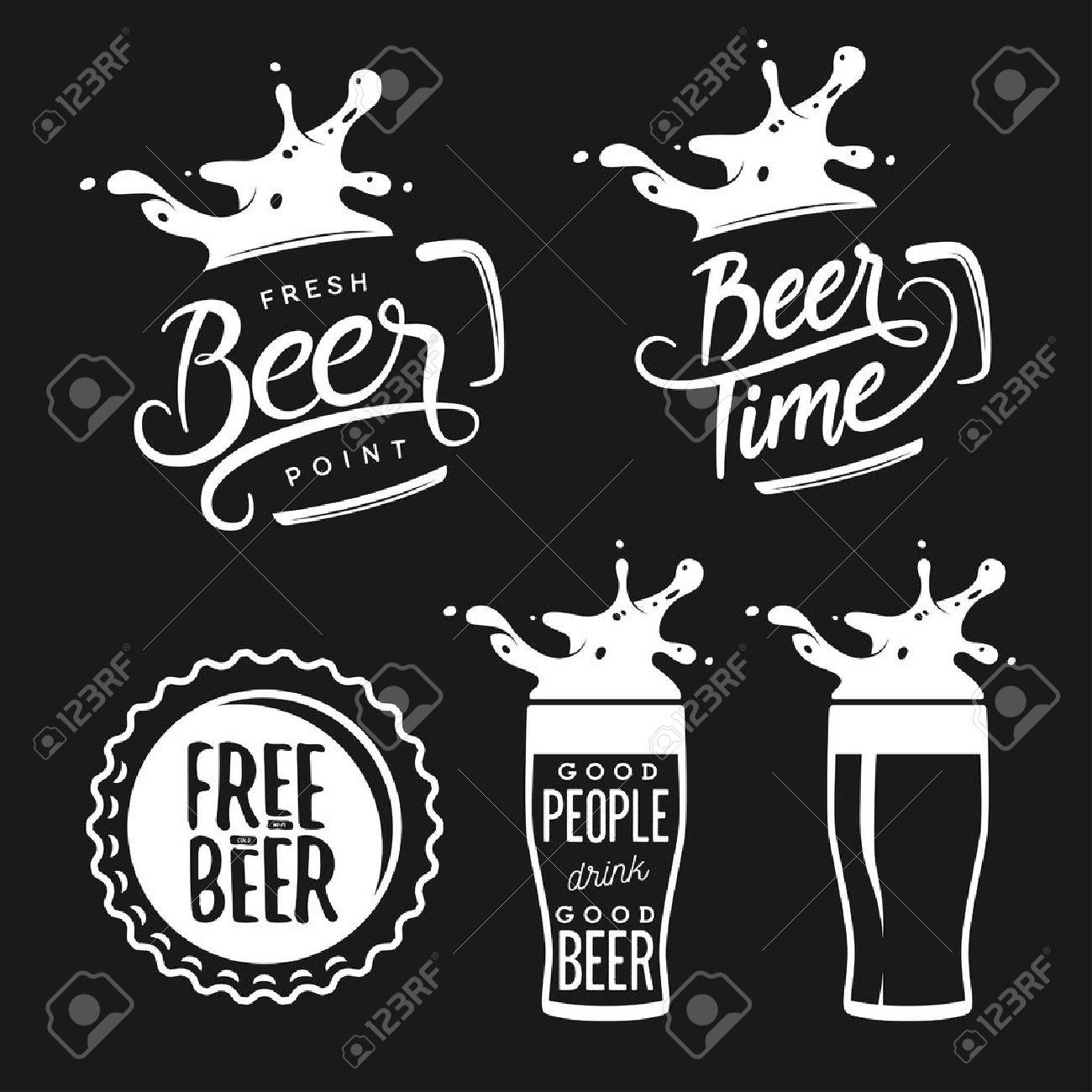 Beer related typography. Vector vintage lettering illustration. Chalkboard design elements for beer pub. Beer advertising. - 50721526