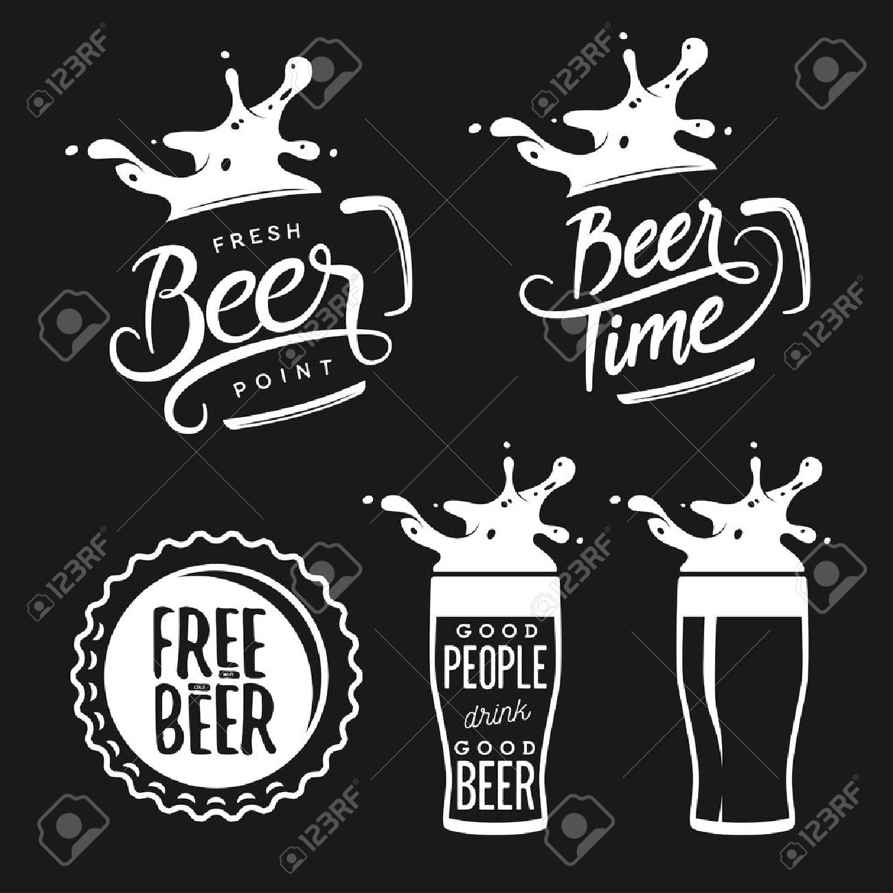 Beer Related Typography. Vector Vintage Lettering Illustration ...
