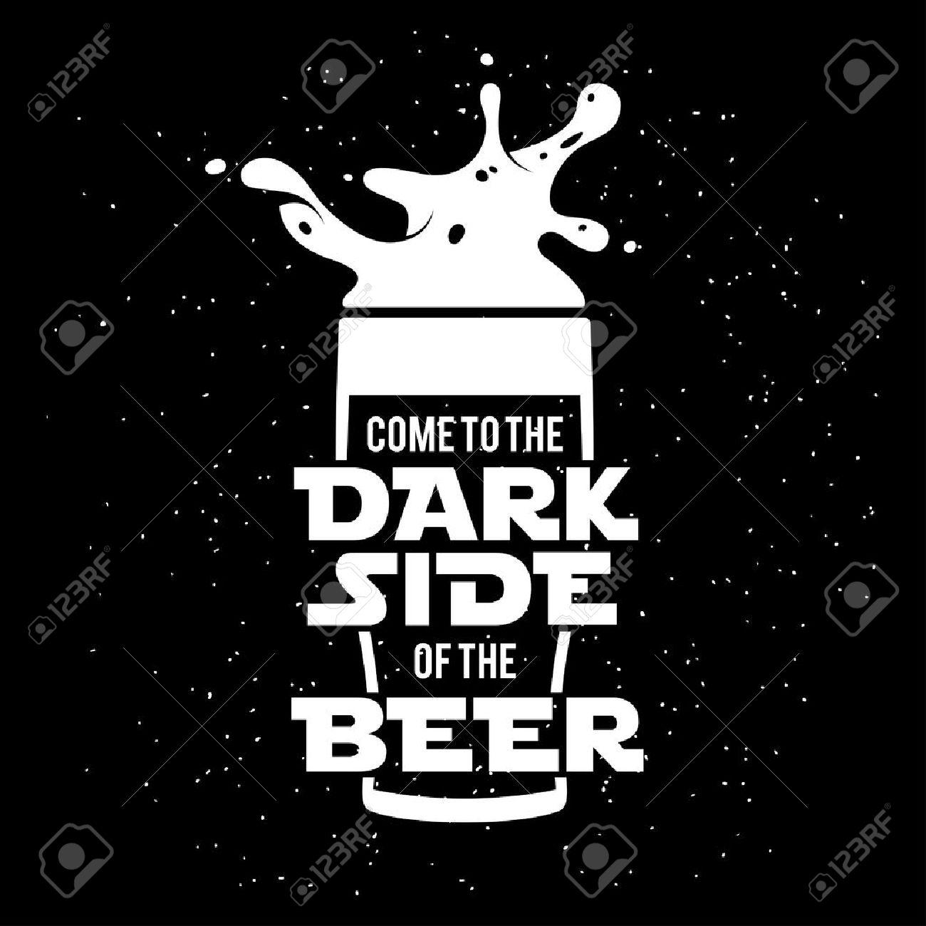 Dark side of the beer print. Chalkboard vintage illustration. Creative trendy design element for beer advertising. - 51114608