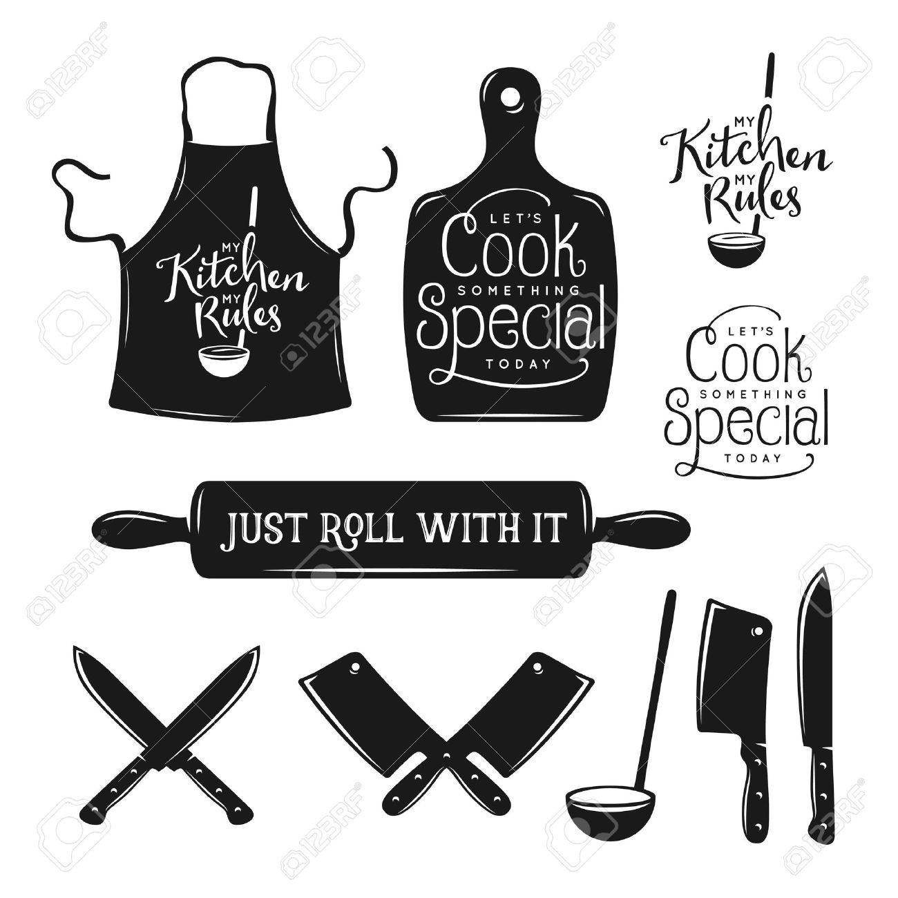 Kitchen related typography set. Quotes about cooking. My kitchen, my rules. Just roll with it. Lets cook something special. Vintage vector illustration. - 52087084