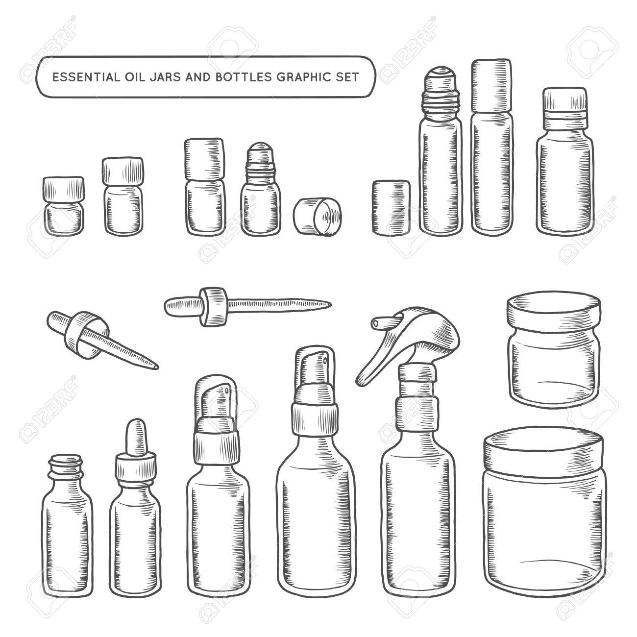 Perfume in glass pot stock photos royalty free business images essential oil jars and bottles hand drawn graphic set design elements for different decoration needs biocorpaavc Gallery