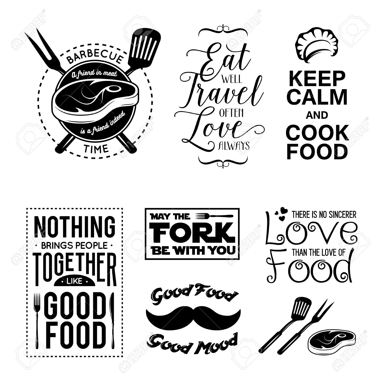 image relating to Kitchen Printable titled Fixed of common food stuff very similar typographic quotations. Vector case in point