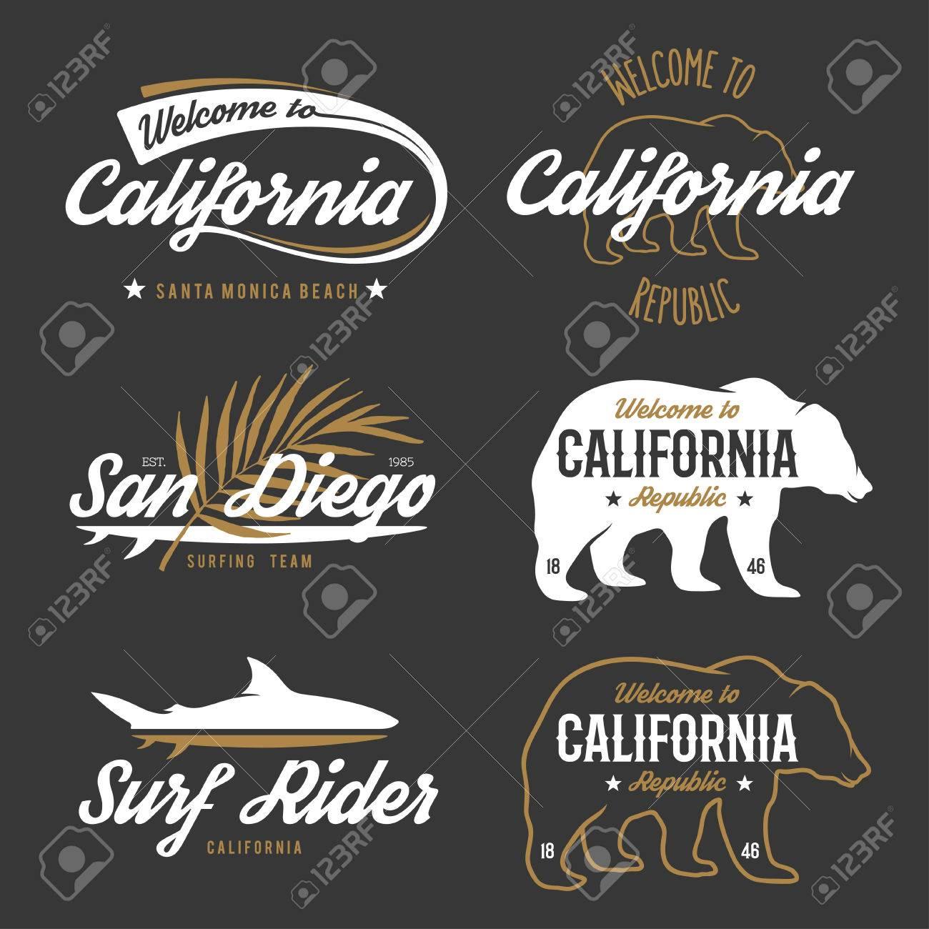 Shirt design elements - Vector Vector Vintage Monochrome California Badges Design Elements For T Shirt Print Lettering Typography Illustrations California Republic Bear