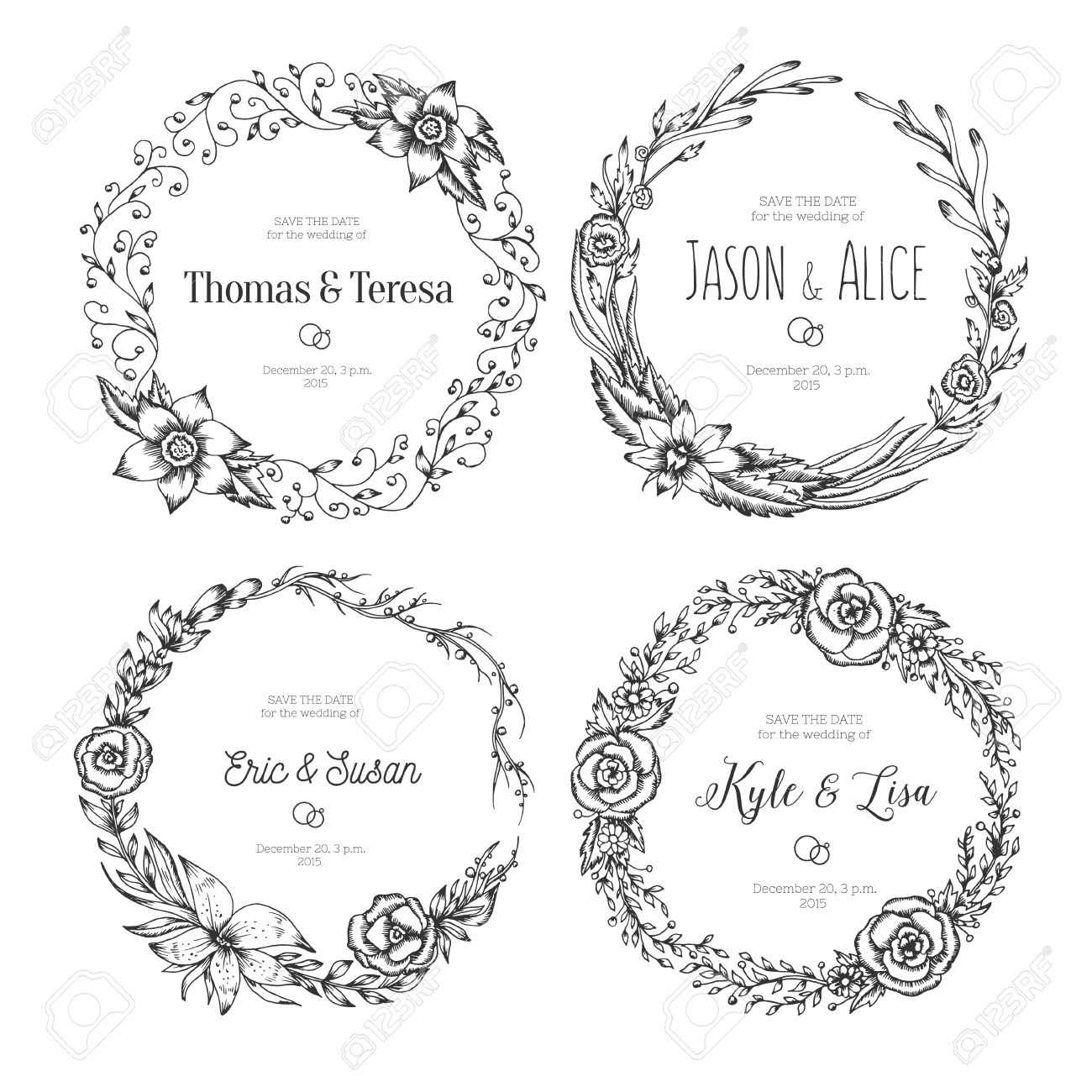 Vintage Wreaths. Collection Of Trendy Cute Floral Frames. Graphic ...