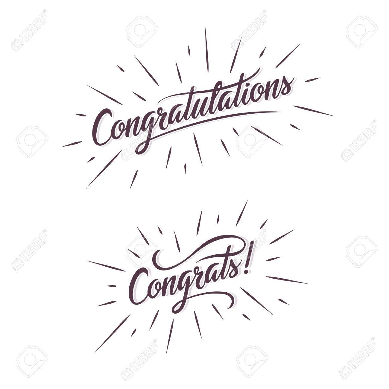 congratulations hand lettering illustration calligraphic greeting inscription handwritten typography trendy design element