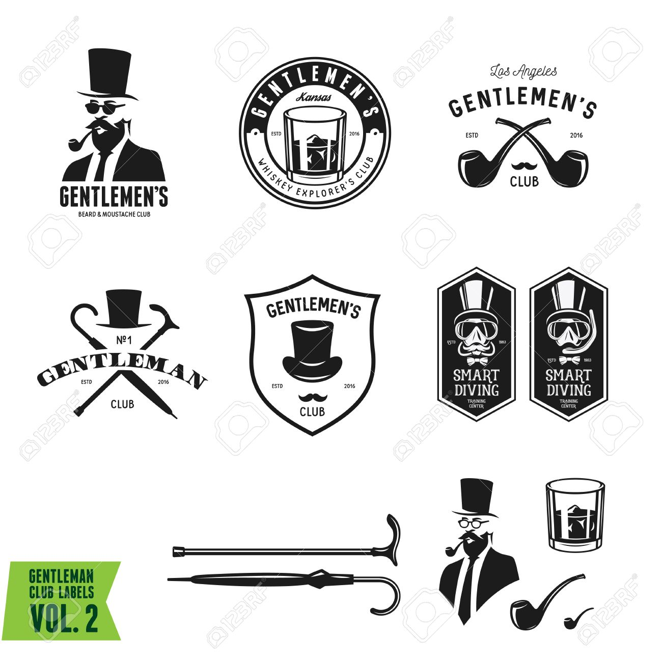 89a1a72bfbf139 Collection of vintage gentleman emblems, labels, badges and design elements.  Monochrome style.