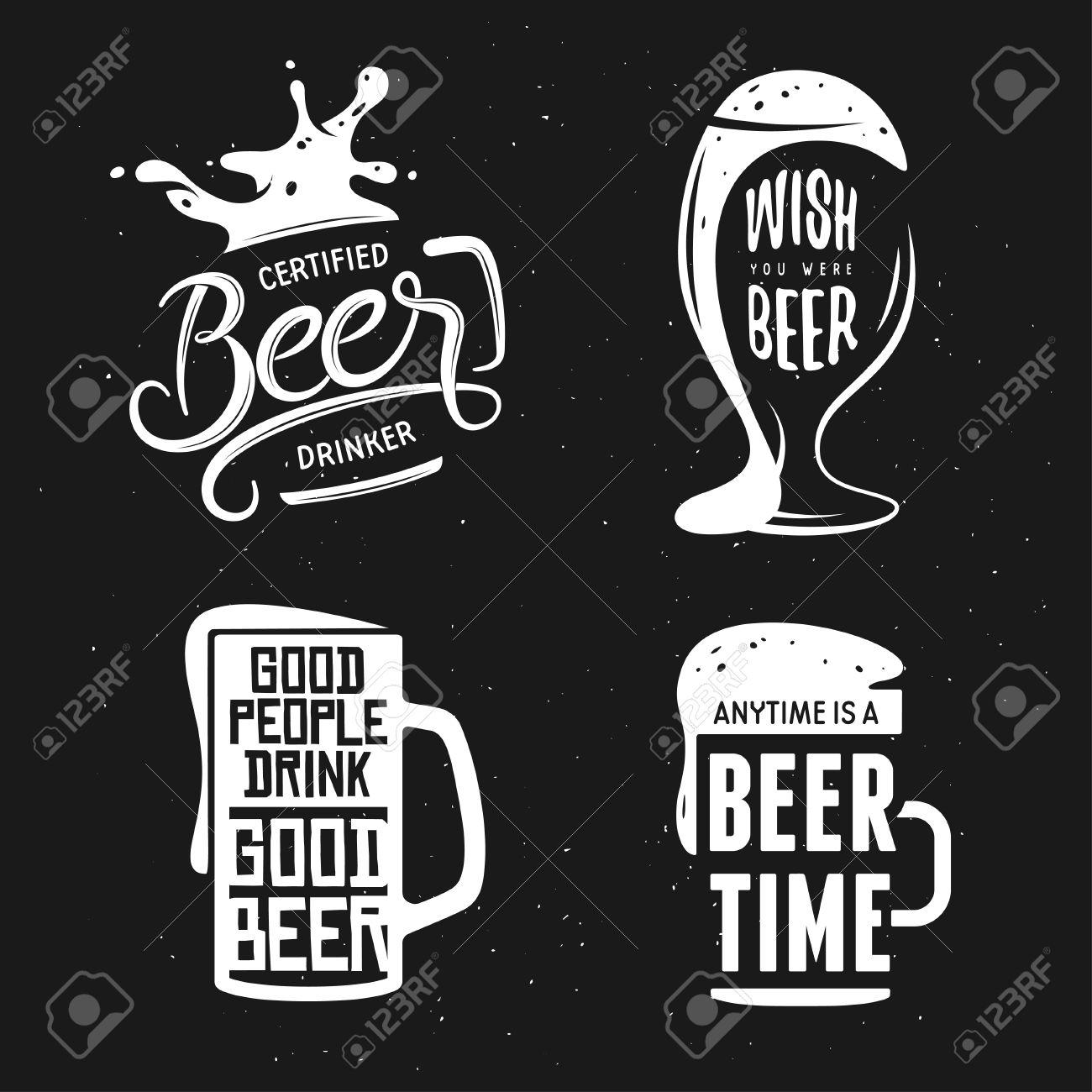 Beer related typography. Vintage lettering illustration. Chalkboard design elements for beer pub. Beer advertising. - 56723327