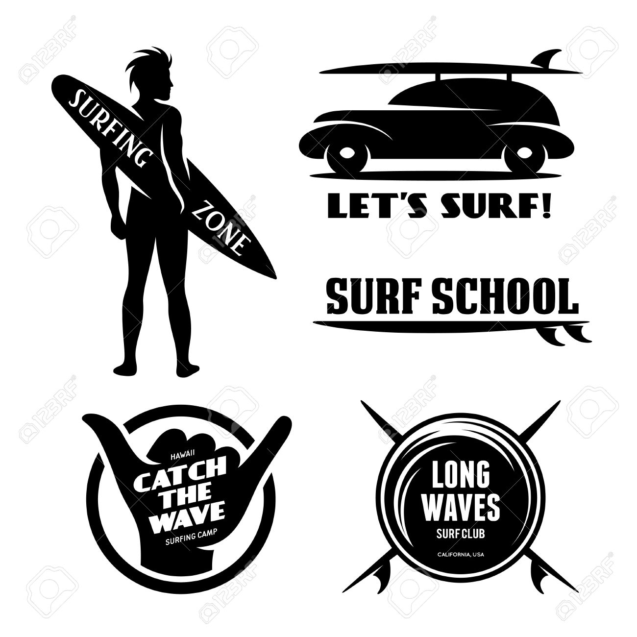 Surfing related labels set. Catch the wave. Quotes about surfing. Surf car  with
