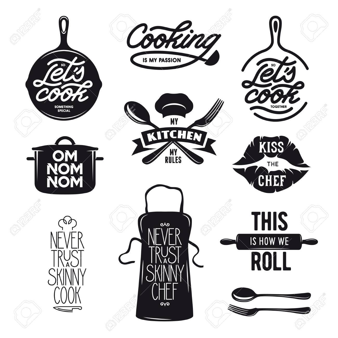 Cooking Related Typography Set. Quotes About Kitchen. Cooking ...