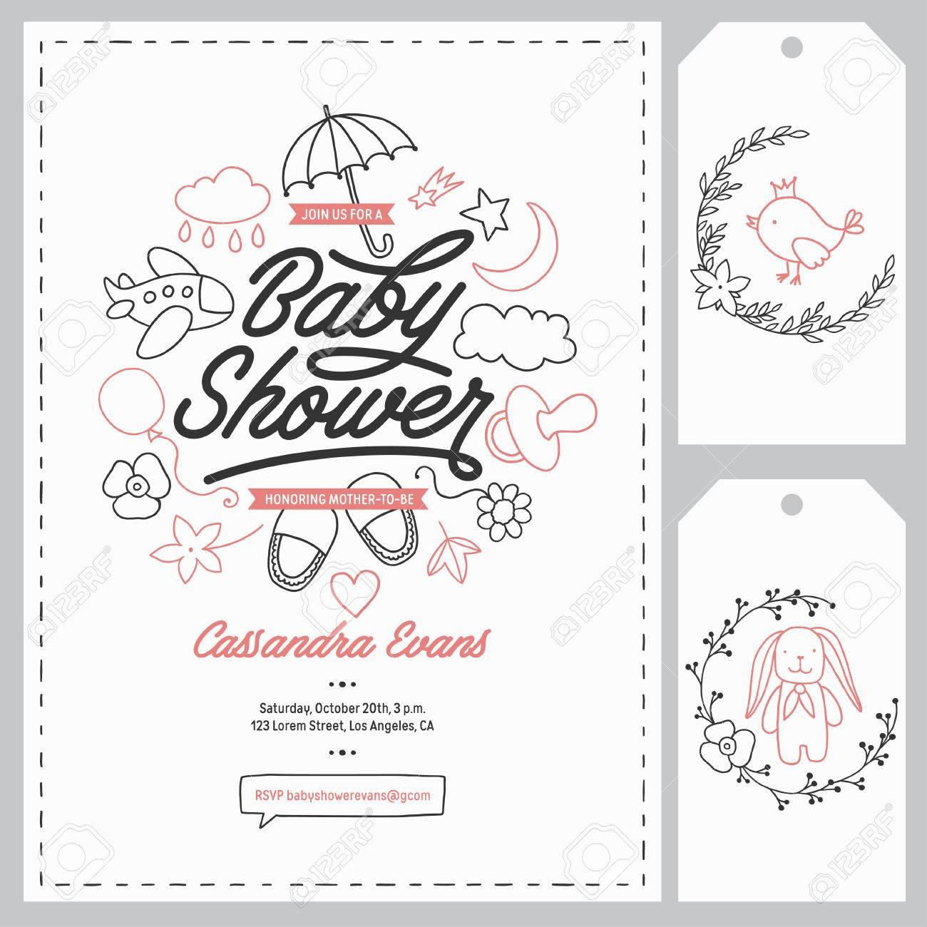 Baby shower invitation templates set floral design elements baby shower invitation templates set floral design elements for decoration baby shower holiday greeting filmwisefo Choice Image