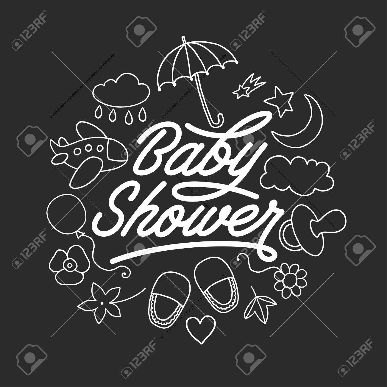 Baby Shower Invitation Chalkboard Template. Doodle Design Elements ...
